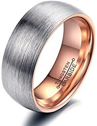 bigsoho Partner Ring Wolfram carbid Ehering Trauring Freundschaft Schmuck - Farbe: Silber Rosegold