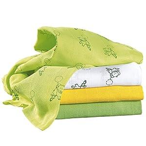 Bornino Mullwindeln (4er-Pack) – Baby Basics – Spucktücher aus reiner Baumwolle – Moltontücher 80x80cm – in verschiedenen Farbtönen