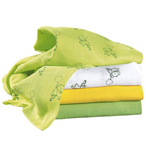 BORNINO BASICS 4er-Pack Mullwindeln 80x80 cm weiß/gelb/grün OneSize