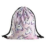 Lalang Women Girls Drawstring Gym Bag Unicorn Print Backpack School Bag (pink)