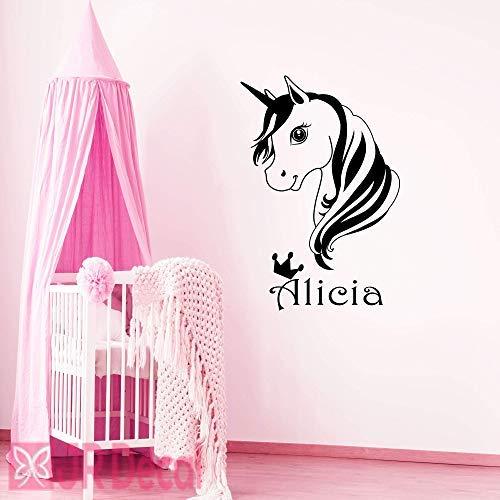 Einhorn Name Wandaufkleber, Vinyl Wandtattoo für Mädchen Zimmer, personalisierte Baby Mädchen Kinderzimmer Aufkleber, Einhorn Wandaufkleber für Mädchen, Kinderzimmer Name Aufkleber -