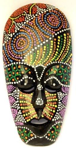BALI PAPAYA - Maschera etnica in legno, statua decorativa africana tribale, Totem Aborigeno, Africa, 20cm, dipinta