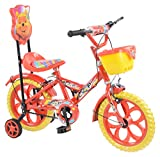 Loop Cycles Master Blaster Y Frame 14 Inches Bicycle For Kids 3 to 5 Years Unisex With Side Wheels & Basket (Red Yellow)