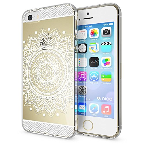 iPhone SE 5 5S Coque Protection de NICA, Housse Motif Silicone Portable Premium Case Cover Transparente, Ultra-Fine Souple Gel Bumper Etui pour Apple iPhone 5 5S SE - Transparent Circle Flowers