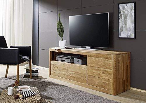 Meuble TV - Bois massif de Chêne sauvage huilé (Bois naturel) - LINZ #111