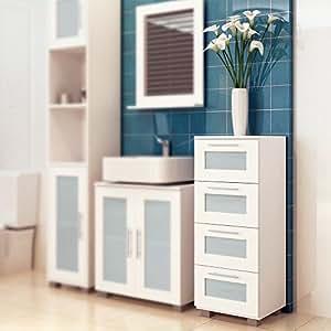 Commode de salle de bain blanche avec 4 tiroirs