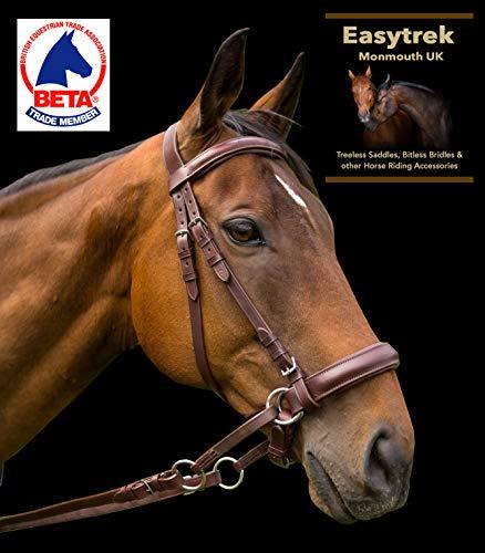 EASYTREK Braunes Leder anatomisch gebisslose Zaumzeug Pony, COB, Full, X Full Size