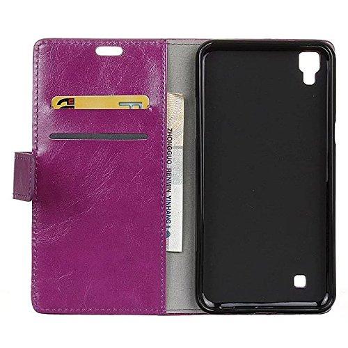 LG X Power Case, verrückte Pferd Textur Korn-Muster PU-ledernen Fall-Abdeckungs-festen Abdeckungs-Fall-horizontalen Schlag-Standplatz-Fall-Mappen-Kasten mit Karten-Schlitzen für LG X Energie ( Color : Purple