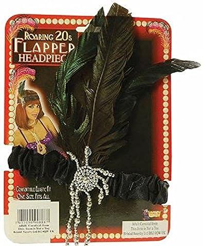 1920's Flapper Charleston Set Accessories Gloves Headband Feather Boa Beads Wig Halloween Fancy Dress party Mega_Jumble (Black Charleston Headband) by