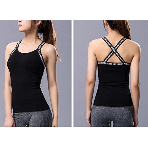 Zhhlaixing Women Cross Design Yoga Shirts With Built-in Bra Womens Sports Running Tank Top Sleeveless Fitness Vest Black