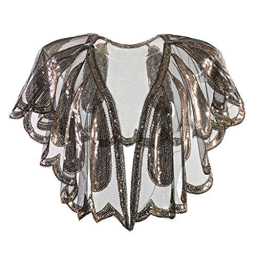 KIMODO Damen 1920s Schal Pailletten Perlen Deco Abend Bankett Brautkleid Schal Party Cover Up