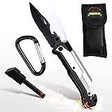 Geschenke 24: Survival Messer 6-in-1 mit Gravur – Multifunktionswerkzeug Outdoor mit Feuerstahl