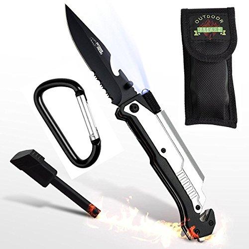 Survival Messer 6-in-1 Klappmesser mit Gravur (ohne Wunschname) - Campingmesser mit Feuerstahl, Glasbrecher, Säge - / Schneidefunktion - praktisches Outdoor-Messer und Taschenmesser -