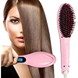 Harikrishnavilla Women's Electric Comb Brush Nano 3 in 1 Straightening LCD Screen with Temperature Control Display, Pink