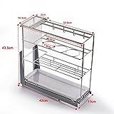 Acciaio inossidabile Armadi cestelli estraibili mobili da cucina condimento cestelli in acciaio inox condimento Rack ( dimensioni : 17cm )
