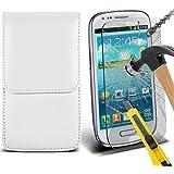 Fone-Case ( White ) Samsung galaxy S3 Mini étui Cover Case Brand New Luxury Cuir Side Faux PU Vertical Pull Tab Pouch Housse de la peau avec Protecteurs d'écran en verre trempé Crystal Clear LCD