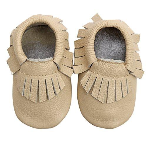 Sapatos Bege Borla Bebê Mocassim Walker Sapatos Menina Rastejando Chinelos Da Do Couro Criança Com Gaorui nqw6YgCg
