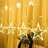 12pcs Großer Pentagram Vorhang LED Licht,innen und außen Weihnachten Dekoration kleine Laterne String,Warme Farbe (Gelb)