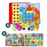 LEEHUR Puzzle 3D Mosaico Infantiles de Fichas, Juguete Educativo de Primera Infancia para Crear Multiples Combinacones y Distinguir Color para Niños - 46 Piezas