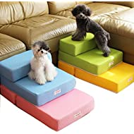 Foldable Pet Dog Cat Stairs Steps For Small Dog Breathable Mesh Dog Mat Cushion Bed Steps Ramp With Detachable Cover Pet Product (Two layers step, Black)