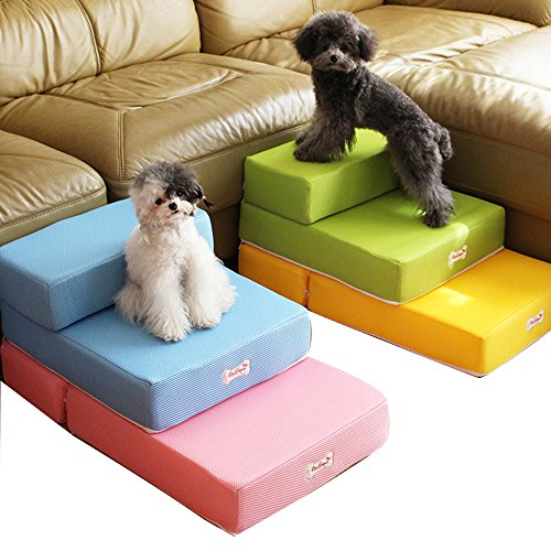 Escaleras plegables para mascotas (gatos y perros pequeños), convertibles en colchón, cojín o cama con funda de malla transpirable extraíble