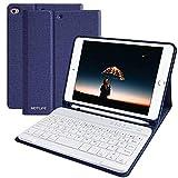 HOTLIFE Tastatur Hülle für iPad Mini5 2019, Slim Soft TPU Rückseite Abdeckung Keyboard Case mit eingebautem Pencil Halter und magnetisch Abnehmbarer drahtloser Bluetooth QWERTZ Tastatur (Himmelblau)