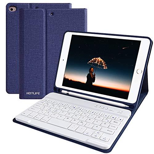 lle für iPad Mini5 2019, Slim Soft TPU Rückseite Abdeckung Keyboard Case mit eingebautem Pencil Halter und magnetisch Abnehmbarer drahtloser Bluetooth QWERTZ Tastatur (Dunkelblau) ()