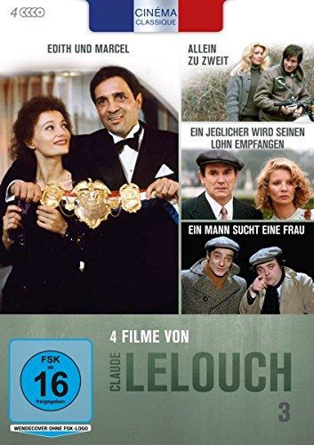 Cinéma Classique Claude Lelouch - Box 3: Ein Mann sucht eine Frau / Allein zu zweit / Ein jeglicher wird seinen Lohn empfangen / Edith und Marcel [4 DVDs] (Klassische Filme Dvd Box)