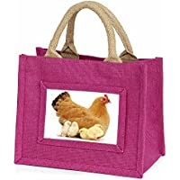 Advanta - Mini Pink Jute Bag Hen with Baby Chicks Little Girls Small Shopping Bag Christmas Gift, Jute, Pink, 25.5 x 21 x 2 cm