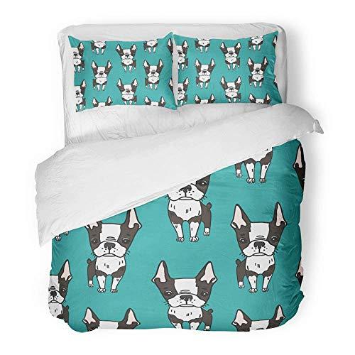 3-teiliges Bettbezug-Set aus gebürstetem Mikrofasergewebe Atmungsaktiver Knickente-Mops mit niedlichen Boston Terrier-Hunden Cartoon-Schwarzweiß-Welpen könnten Bettwäsche-Set mit 2 Kissenbezügen sein -