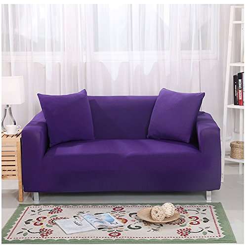 CYSTYLE 1/2/3/4 Sitzer Sofabezug Sofahusse Stretchhusse Sofaüberwurf Couchhusse Spannbezug mit Blumen Muster (Lila, 4 Sitzer 235-300cm)