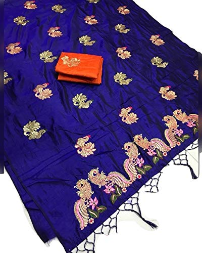 Clickedia Women's Silk Embroidery Sanna with Blouse Bangalore Piece Saree (Royal Blue, Free Size)