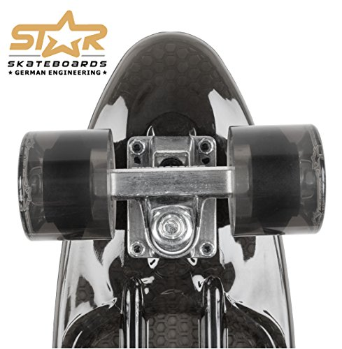 STAR-SKATEBOARDS® Vintage Cruiser Board ★ 22er Trendy Transparent Edition ★ Teuflisch Schwarz -
