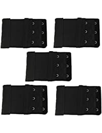 sourcingmap Lady Double Rows Adjustable Bra Extender Hook w Eye Tape 5 Pcs Black