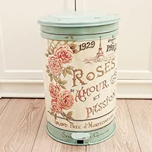 Vintage Style Shabby Chic Distressed Pedal Bin Ideal For Bathrooms And Bedrooms