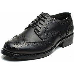 Las mujeres perforaron Wingtip Leather Oxfords, Vintage Brogue cómodo Office Low Heel Shoes Negro 36