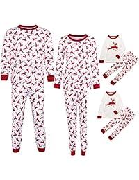 QinMM Conjunto de Pijamas de Navidad Familiar, Tops Camiseta Pantalones para Mujer y Hombre niño bebé (1-10 años), Manga Larga Ropa de Dormir, Ciervos Impresos