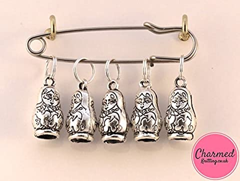Large Russian Dolls - 5 Silver Knitting Stitch Markers by Charmed Knitting