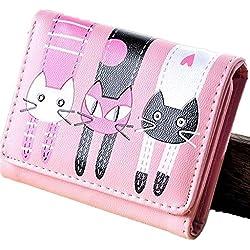 Cartera de las mujeres-All4you señoras plegado monedero corto monedero multi titular de la tarjeta con dibujos animados gato precioso patrón (rosa)