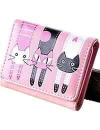 Cartera de las mujeres-All4you señoras plegado monedero corto monedero multi titular de la tarjeta con dibujos animados patrón gato encantador