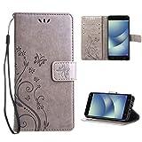"""Leathlux Motif Housse en Cuir Flip Case Coque de Intérieure TPU Silicone Wallet Pochette Support avec Porte-cartes pour Asus Zenfone 4 Max ZC554KL 5.5"""" (Gris)"""