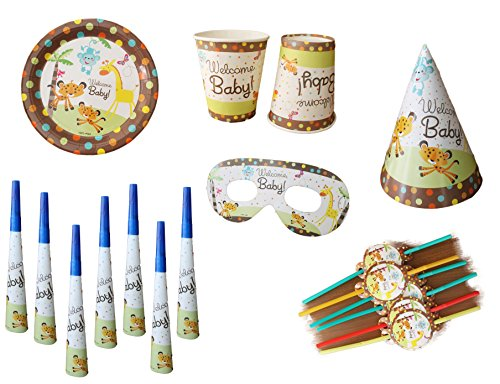 GeekGoodies Kids Theme Birthday Party Set With Paper Plates, Glass, Straw, Eye Mask, Napkin, Hat - Welcome Baby