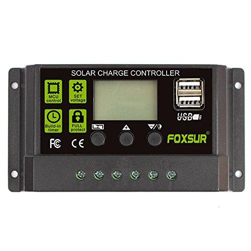 Controlador de carga solar mejorado FOXSUR Regulador de carga solar 30A 20A 10A PWM Regulador de pantalla LCD automático 12V 24V con salida USB dual 5V   10 A: si su batería es de 12V, la entrada máxima del panel solar es de 25V y 120W si su batería ...