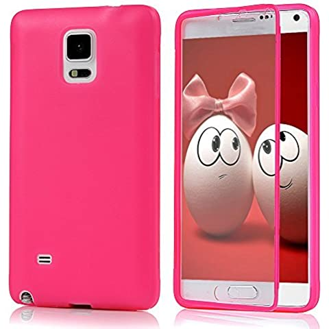 Samsung Galaxy Note 4 Funda - YOKIRIN Carcasa Clamshell Pantalla Táctil TPU Suave Silicona Case Transparente Cover Protectora Rosa caliente