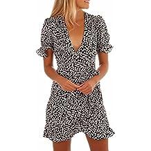 Kword Fashion ✿Vestito Donna Elegante✿,Kword Estate Abito Da Sera Partito,Mini Abito Stampato Da Donna Con Scollo A V Manica Corta,Vestito Donna Abiti Vintage