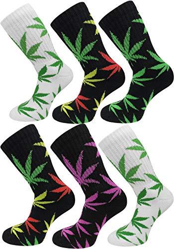 6 Paar Hanf Socken mit Weed Blätter Muster Größe 39/42