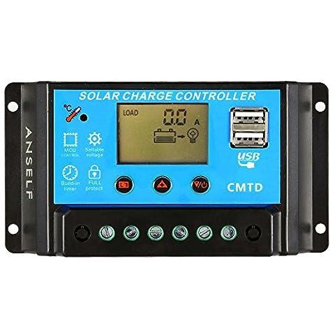 Anself 10A/20A Écran LCD 12V/24V Contrôleur de charge solaire avec fonction d'affichage actuelle Régulateur pour lampe panneau solaire batterie automatique Protection contre la surcharge 20A