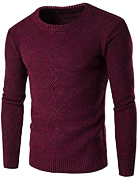 Casual Manga Larga Jersey para Hombre, Honghu Ocio Cuello Redondo de Punto Sweater
