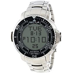 Sector Men's Digital Watch with LCD Dial Digital Display and Silver Stainless Steel Bracelet R3253967001