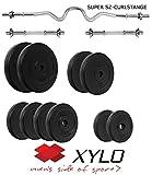 Xylo HANTELSET 52 KG KURZHANTELN,CURLSTANGE SZ-STANGE 25mm Gewichte Hanteln Training (52_KG SOLID_PROMO/M)